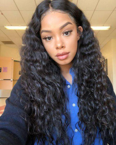 Orgshine Loose Curly Wave Synthetic Lace Front Wigs -Middle Part 24 inch - NATURAL BLACK 24INCH