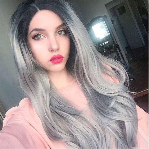 Orgshine 26inch Middle Part Long Body Wave Black Grey Ombre Wig Synthetic Hair  Wigs -HG203 - multicolor 26INCH