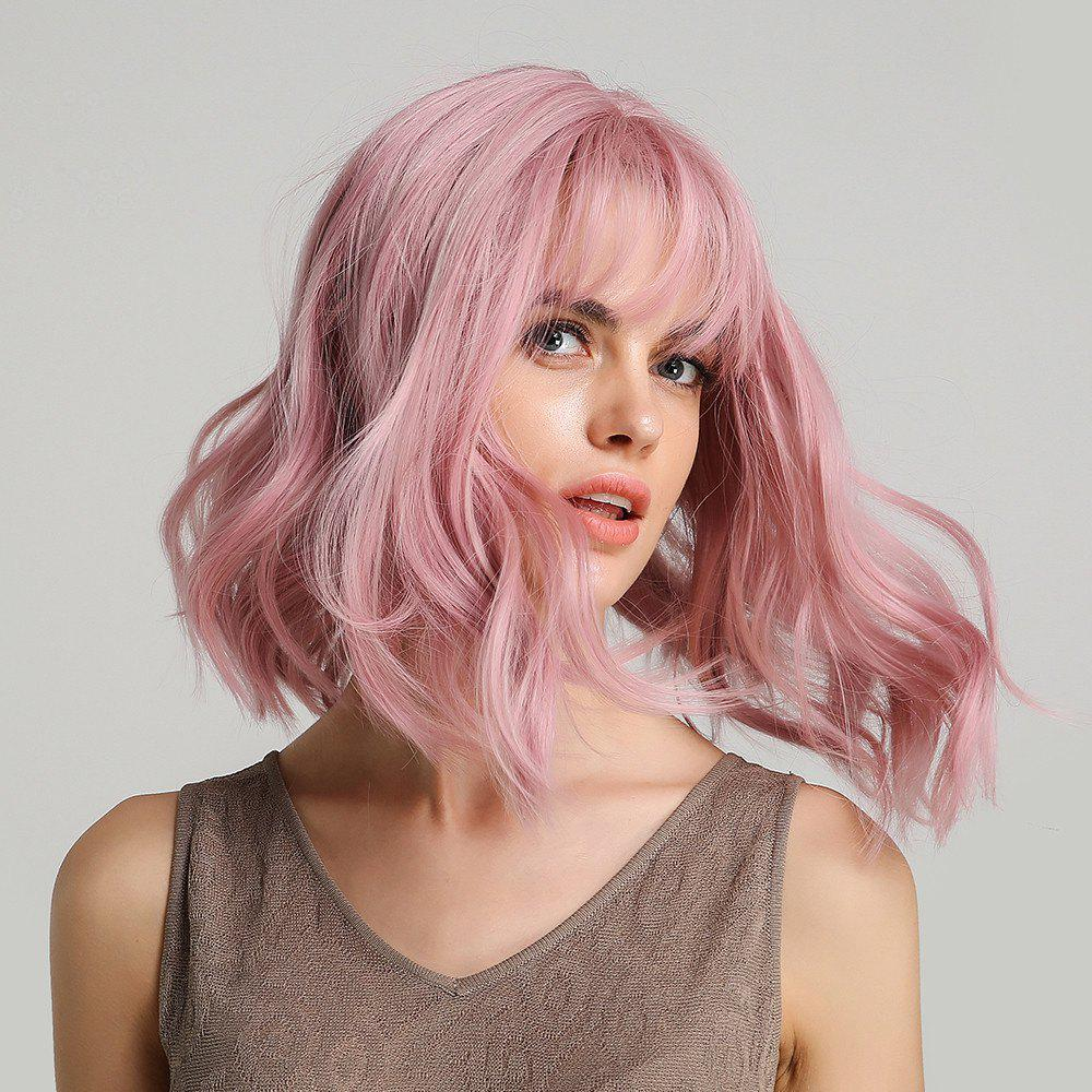 Short Pink Wavy Synthetic Wig with Bang Purple Wave Wig Cosplay Wig 6-LY210 - PINK