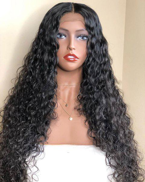 Orgshine Kinky Curly Lace Front Human Hair Wigs Side Bang 24inch Black - NATURAL BLACK