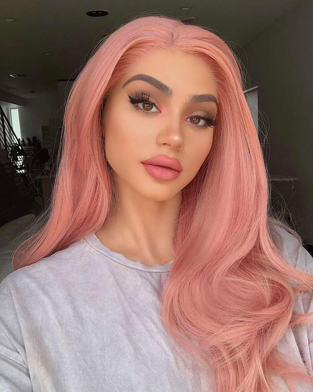 Fashion Long Big Wave Lace Front Synthetic Hair Wig  Flamingo Pink Color 24 inch - FLAMINGO PINK 24INCH