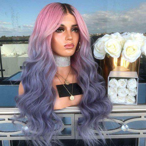 Halloween Ombre Pink Purple Blue Synthetic Wavy Wig 24 inch - PEACOCK BLUE 24INCH