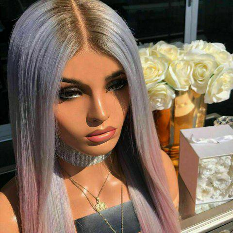 Halloween Ombre Purple Pink Synthetic Straight Wig 24 inch - LIGHT PINK 24INCH
