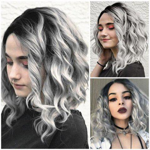 Halloween Ombre Grey Synthetic Wavy Wig 16inch - LIGHT GRAY 16INCH