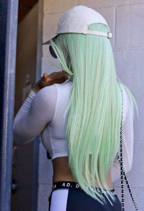 Halloween Ombre Green Synthetic Straight Wig 24 inch - ALGAE GREEN 24INCH