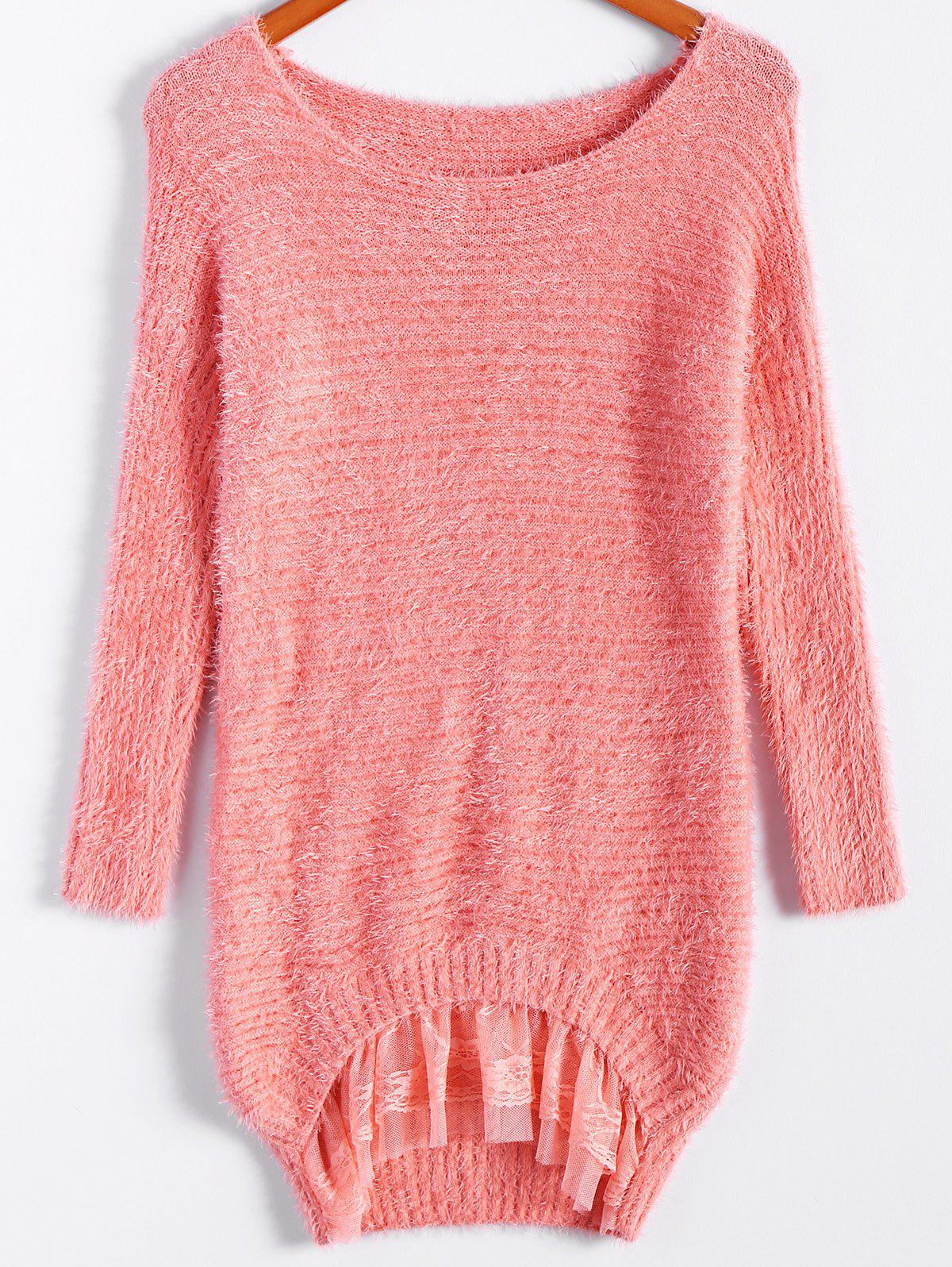 Ladylike Style Sweet Scoop Collar Loose Fit Lace Hem Long Sleeve Women's Knitted Sweater - PINK ONE SIZE