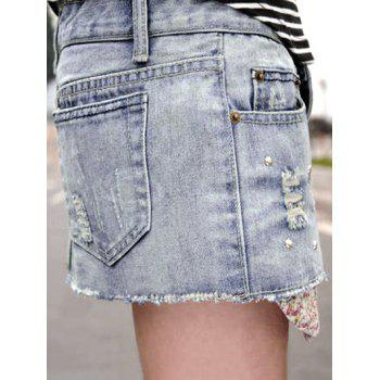 Corean Fashion and Casual Wear-out Pattern and Beads Decorated Jeans Skirt - M M