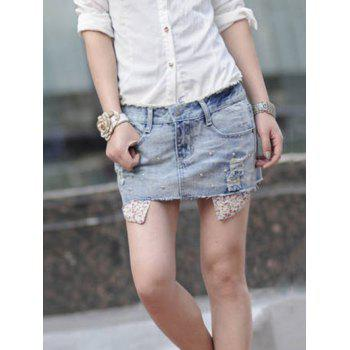 Corean Fashion and Casual Wear-out Pattern and Beads Decorated Jeans Skirt - GRAY M