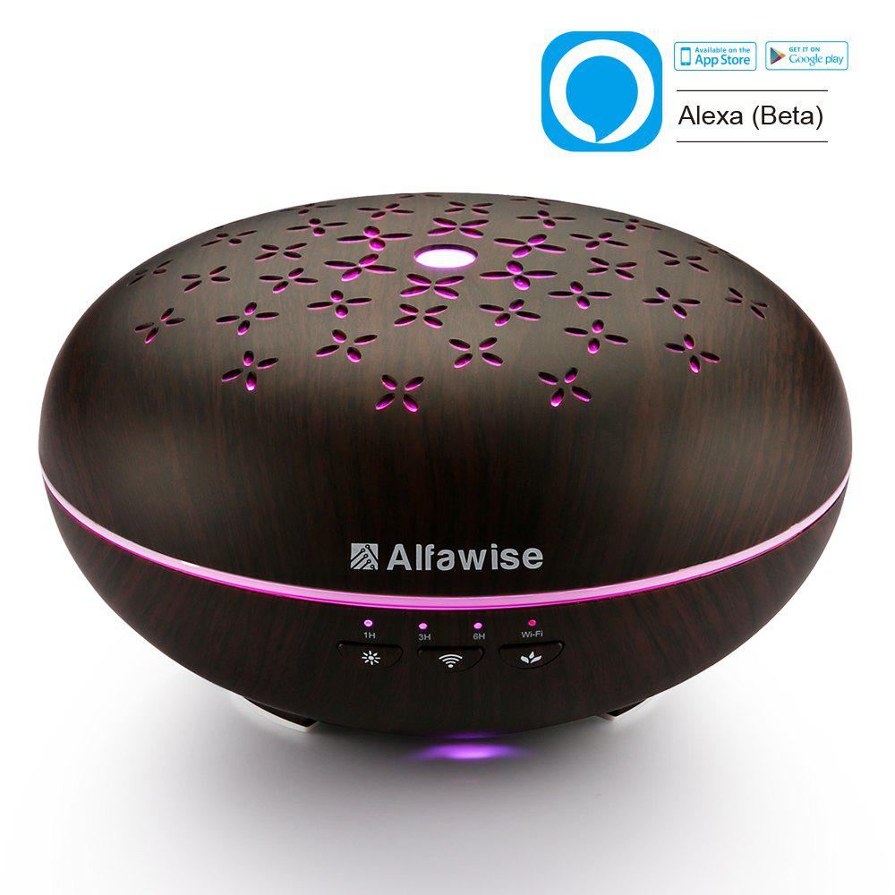 Alfawise SJ - 07B Humidifier Essential Oil Diffuser - BLACK WOOD US PLUG + COVER B