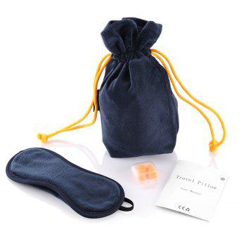COZZINE Inflatable Pillow with Blindfold and Pair of Earplug - CADETBLUE