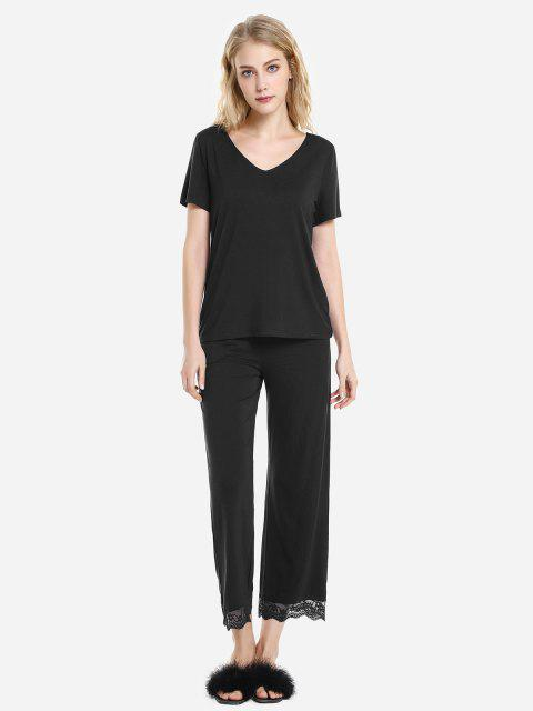 ZAN.STYLE V Neck Sleepwear Short Sleeve Pajama Set - BLACK S