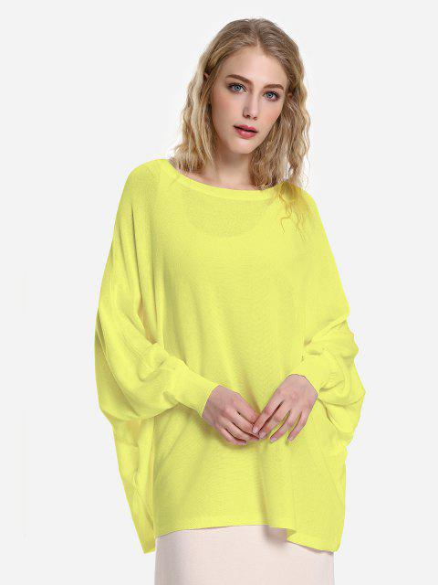 Long Sleeve Round Neck Top - YELLOW L
