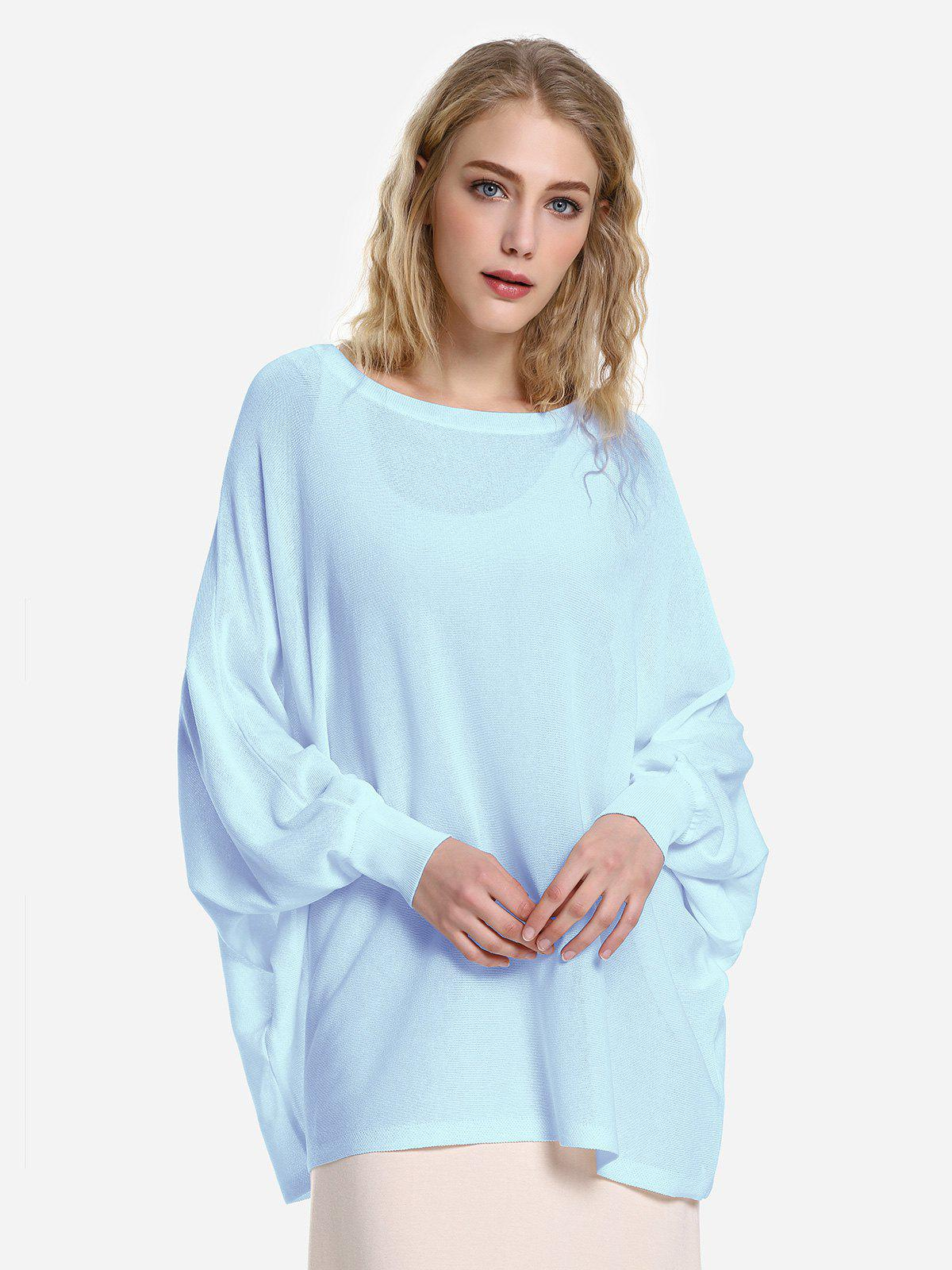 ZAN.STYLE Long Sleeve Round Neck Top - LIGHT BLUE M