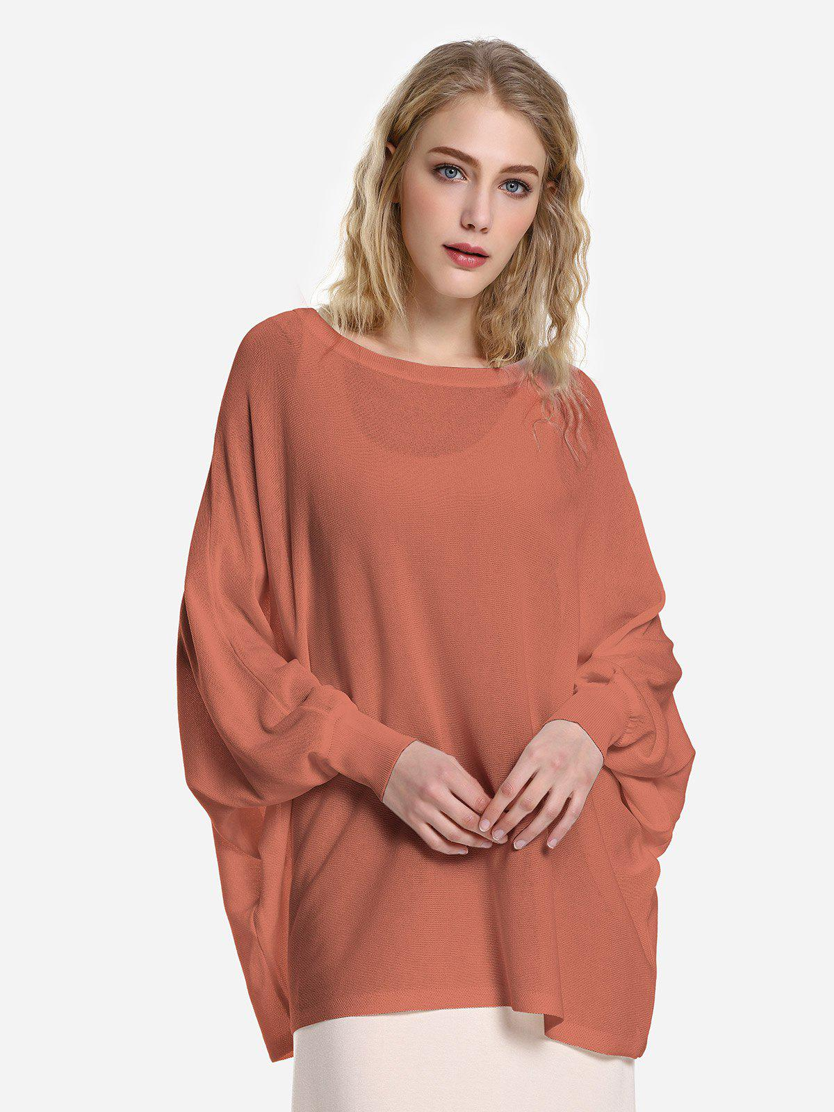 ZAN.STYLE Long Sleeve Round Neck Top - BRICK RED L