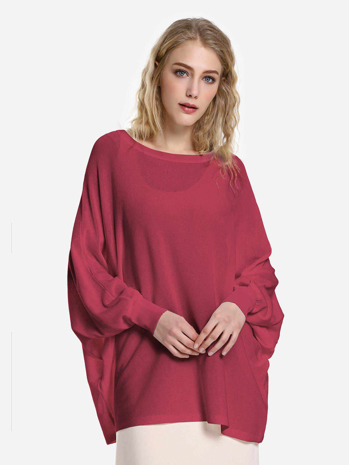 ZAN.STYLE Long Sleeve Round Neck Top - WINE RED L