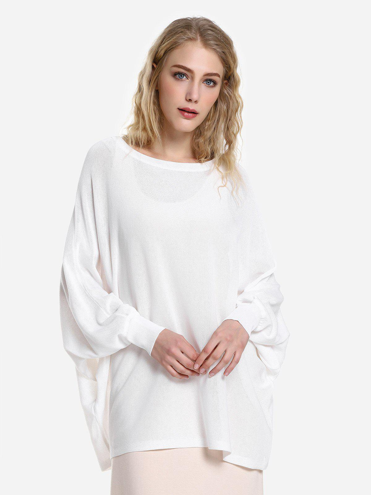 ZAN.STYLE Long Sleeve Round Neck Top - WHITE L