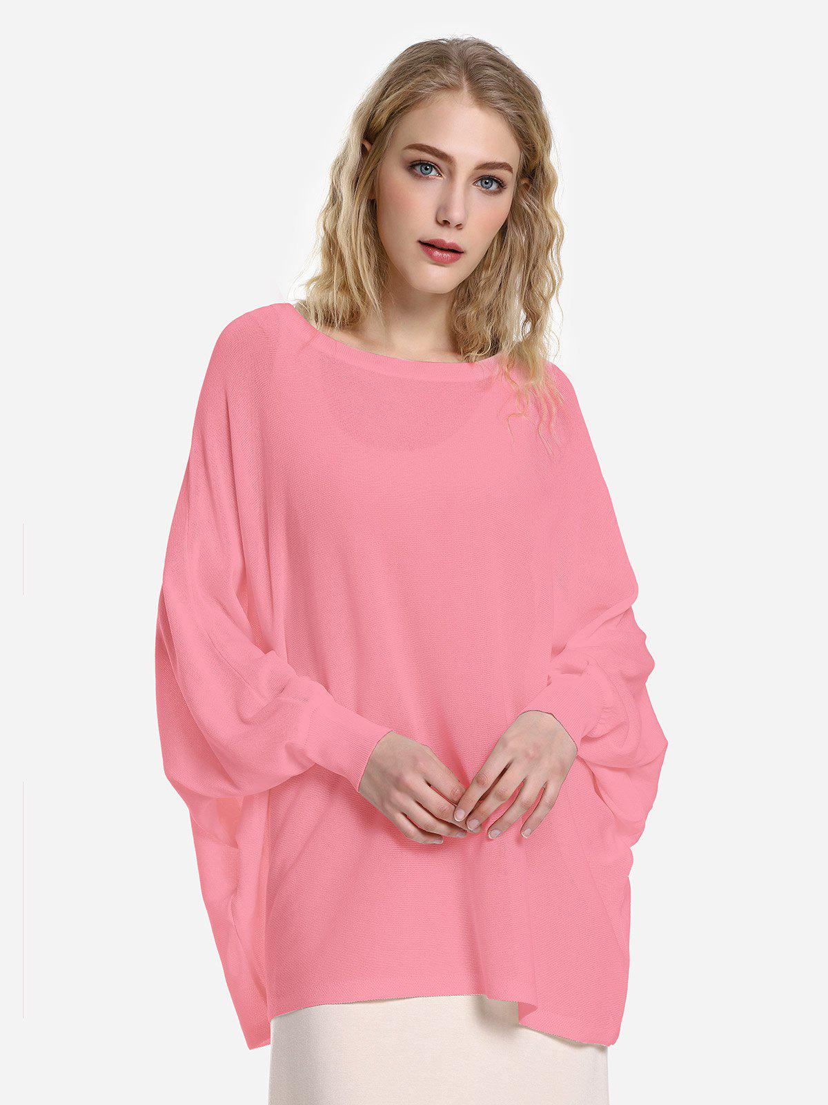 ZAN.STYLE Long Sleeve Round Neck Top - CORAL PINK M