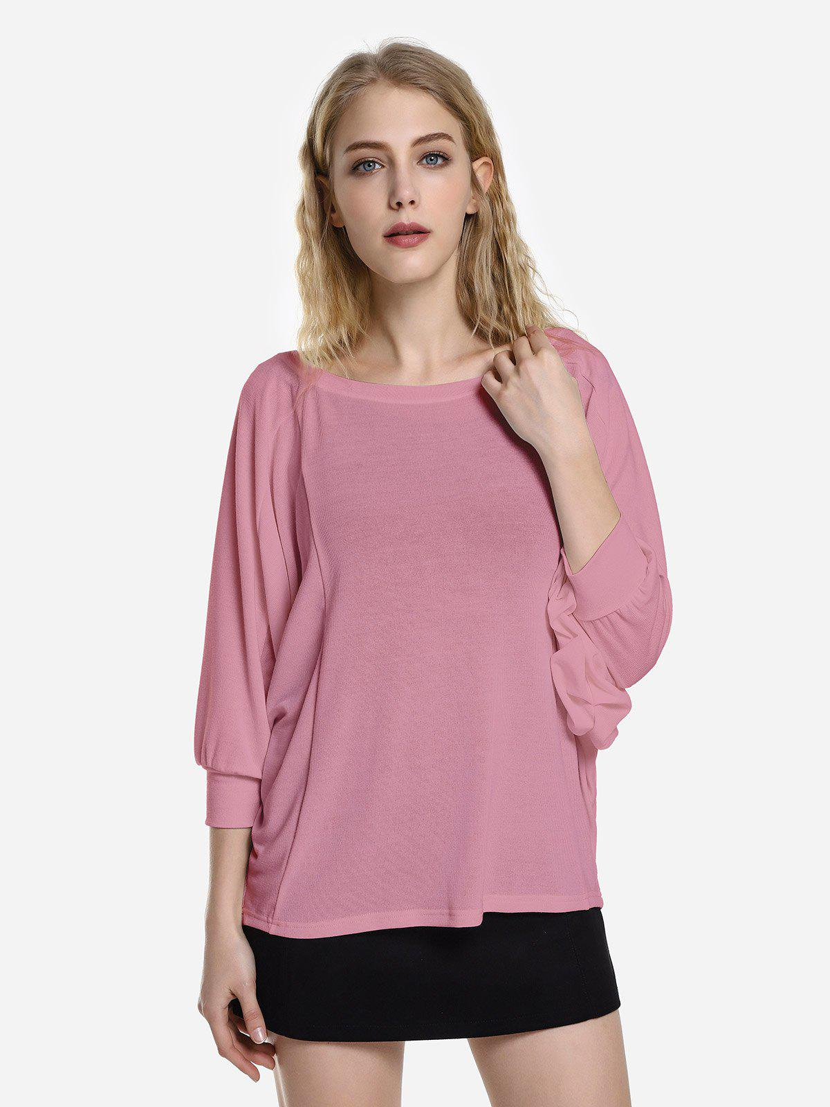 ZAN.STYLE Dolman Sleeve Top - PURPLISH RED M