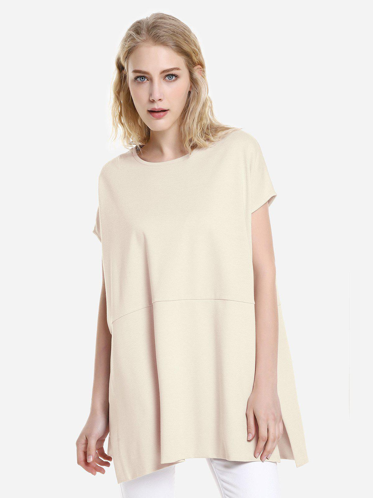 ZAN.STYLE Drop Shoulder Sleeve Top - APRICOT M