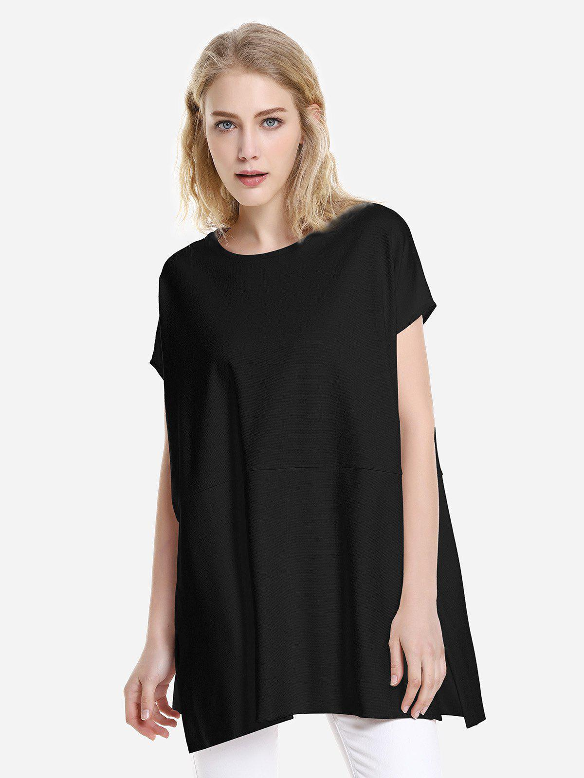 ZAN.STYLE Drop Shoulder Sleeve Top - BLACK S