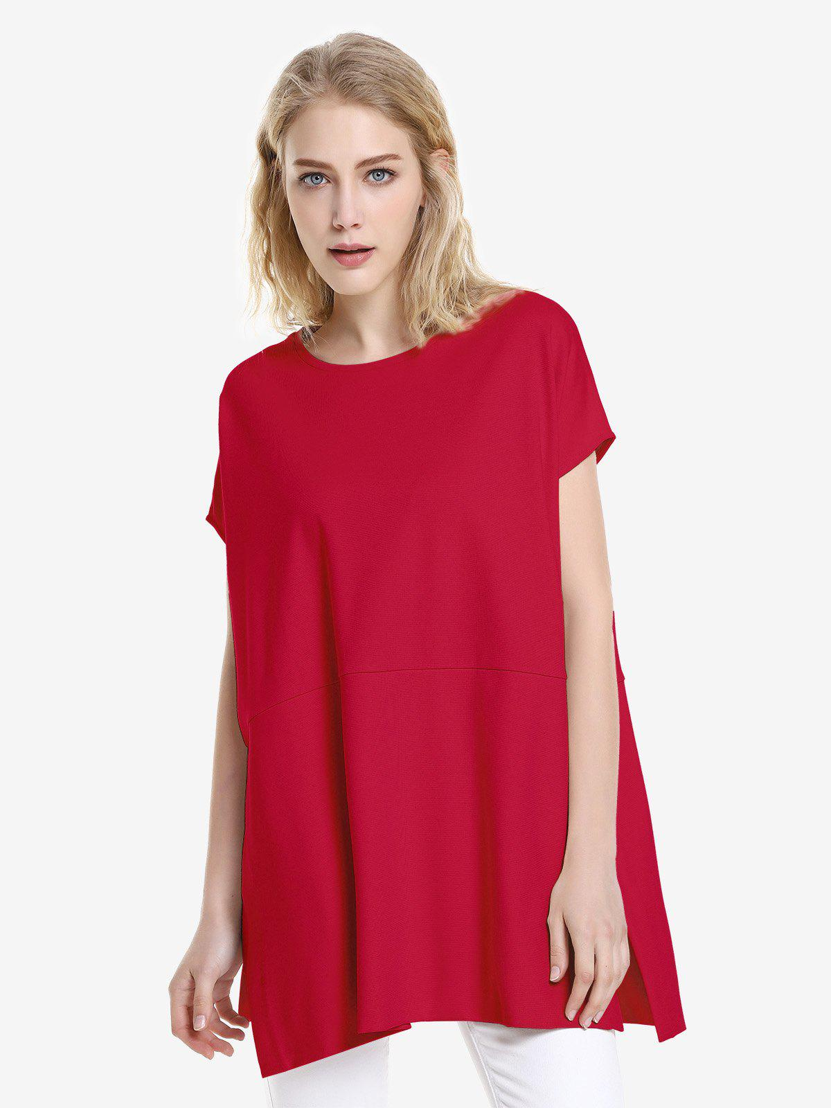 ZAN.STYLE Drop Shoulder Sleeve Top - RED XL