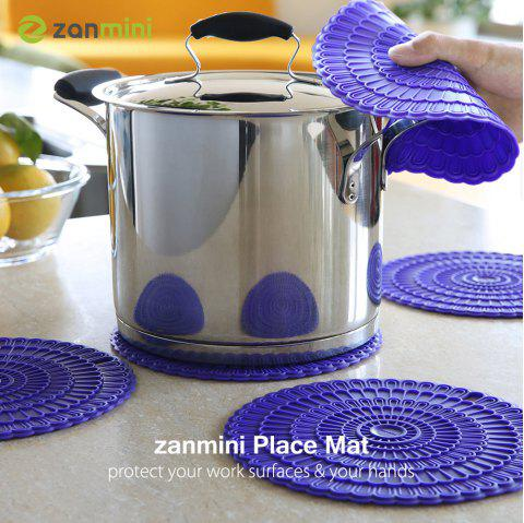 zanmini Silicone Hot Pad Food Safe Place Mat Set of 4 - PURPLE