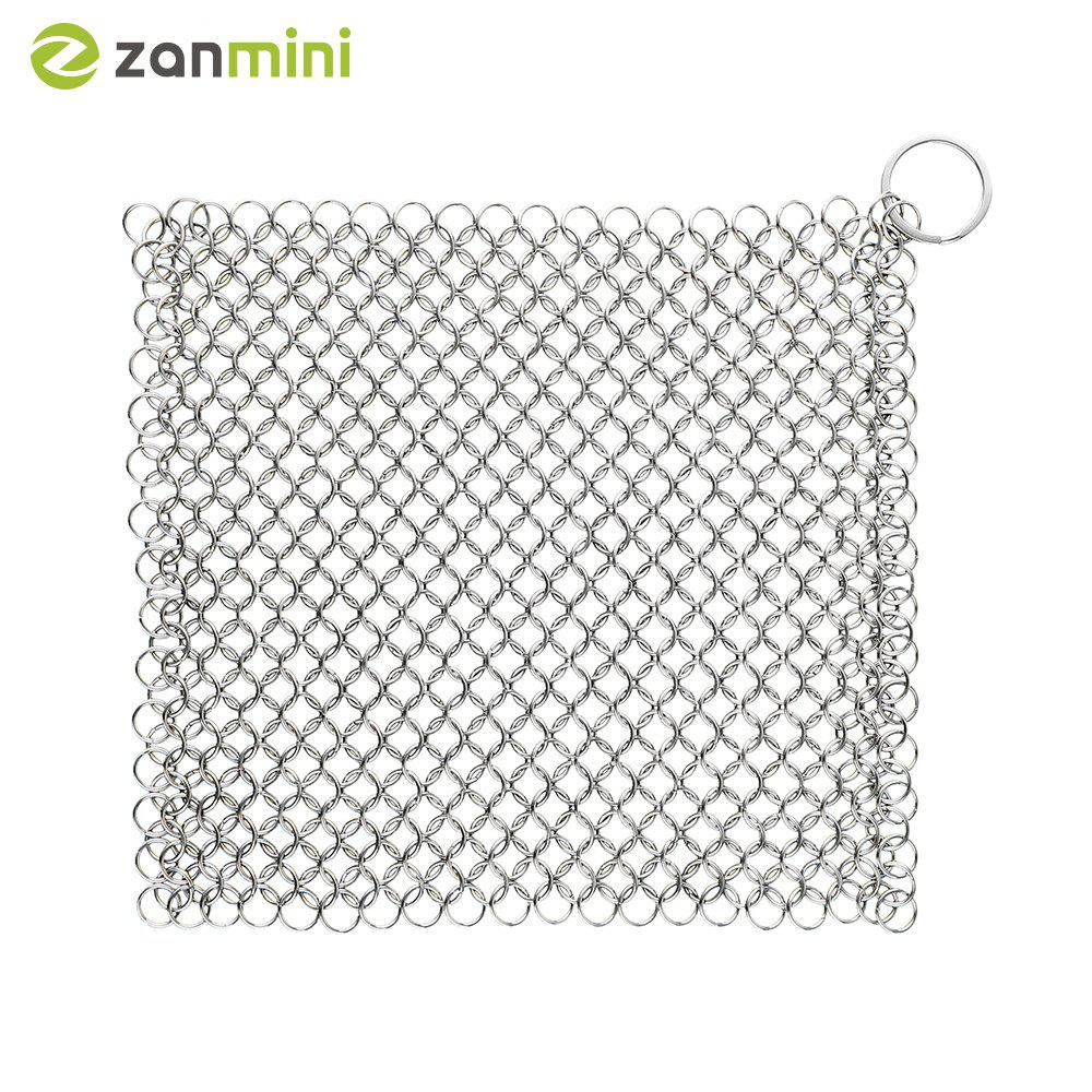 zanmini ZS04 Square Stainless Steel Chainmail Scrubber - STAINLESS STEEL