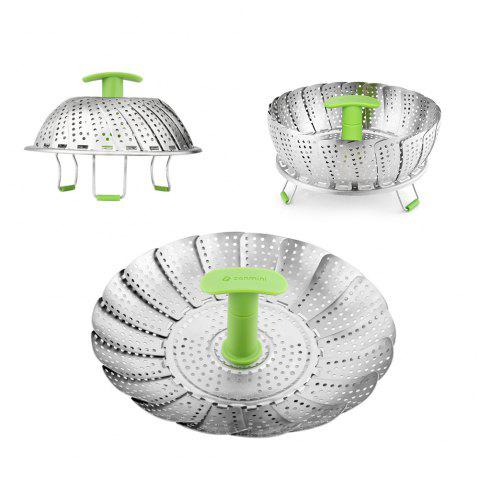 zanmini ZS3 9inch Stainless Steel Collapsible Food Steamer Basket - SILVER SMALL