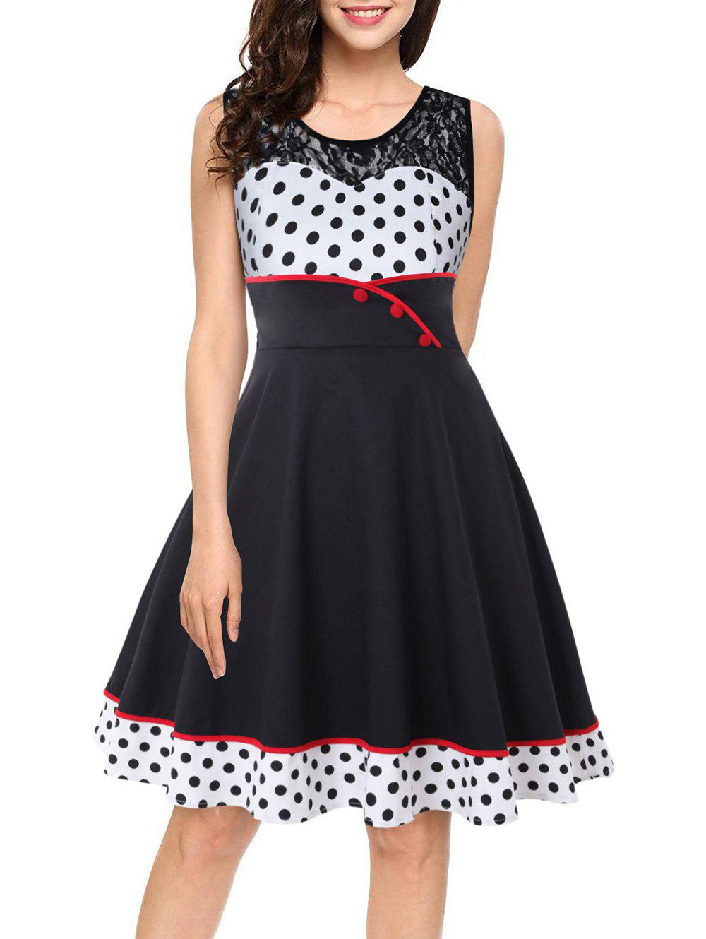Round Collar Lace Patchwork Polka Dot Dress - BLACK S
