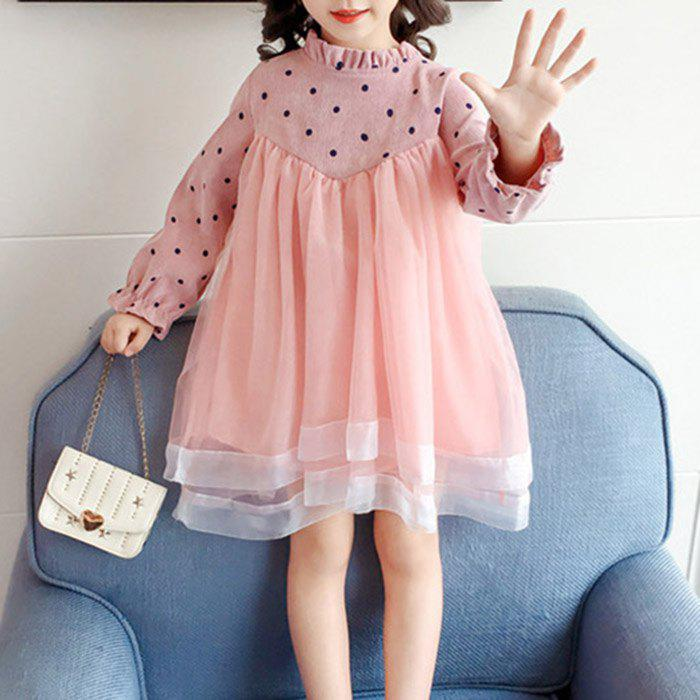Y3588 Girls Long-sleeved Princess Dress - PINK 5 - 6 YEARS