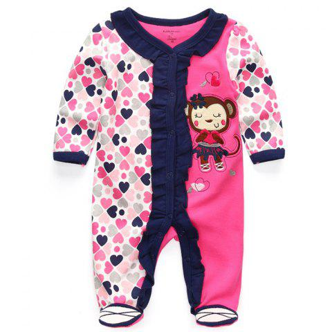 KIDDIEZOOM Boy Girl Long Sleeve Jumpsuit - multicolor H 0 - 3 MONTHS