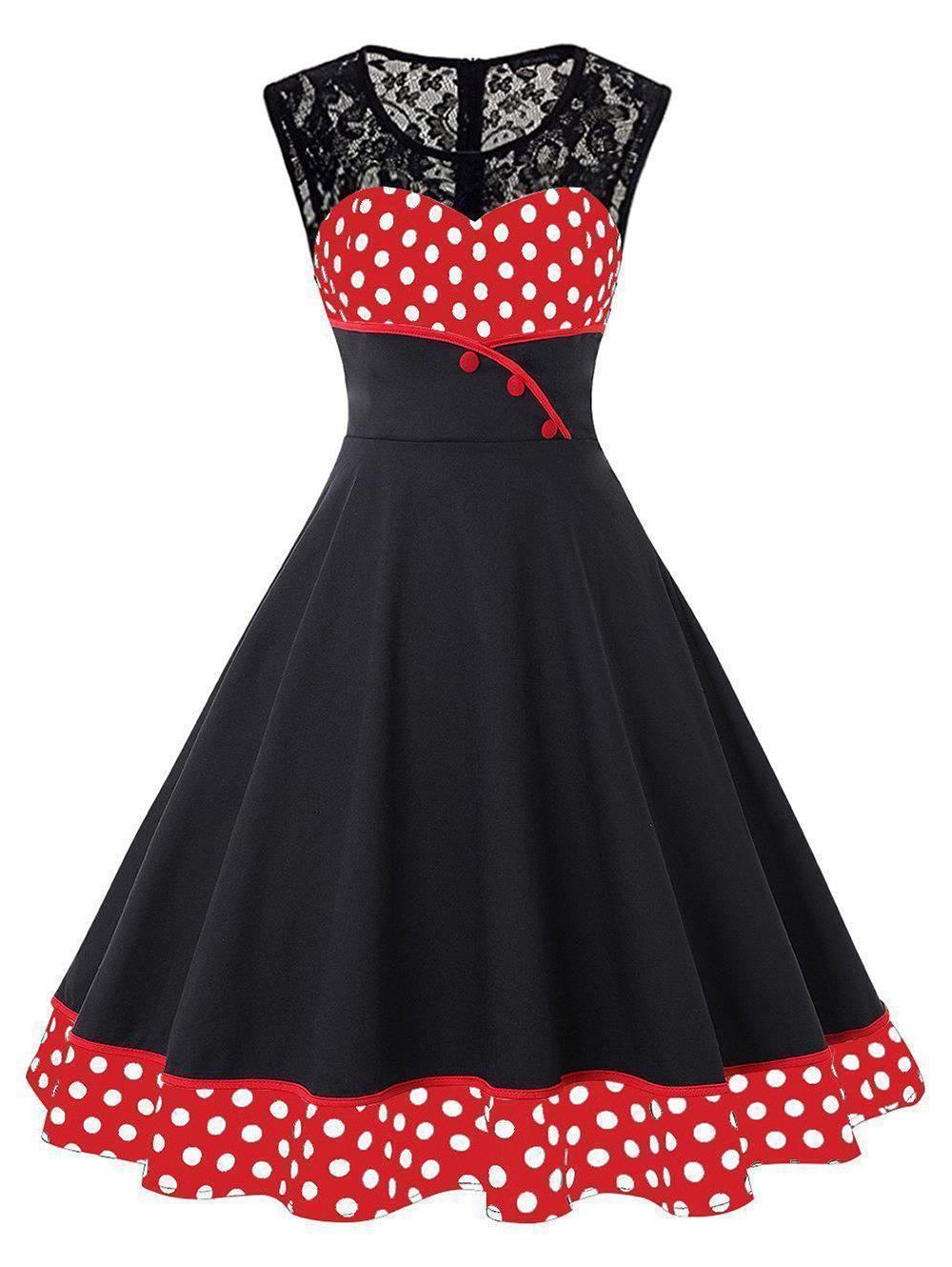 Round Collar Lace Patchwork Polka Dot Dress - RED 3XL