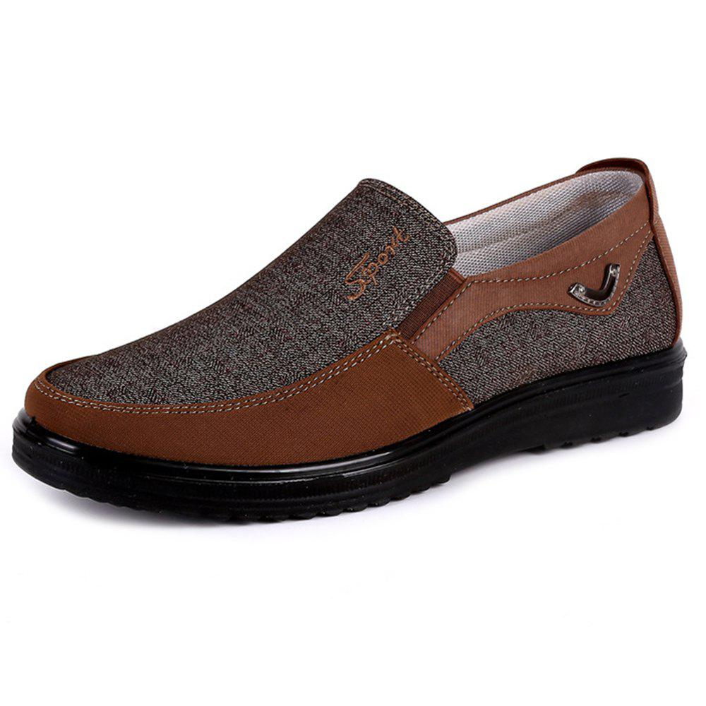 Men Large Size Breathable Anti-skid Loafers Cloth Shoes - COFFEE EU 44