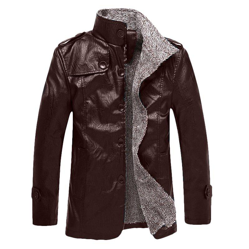 2017 New Autumn and Winter Men's Casual Pu Leather Jacket - ESPRESSO 4XL