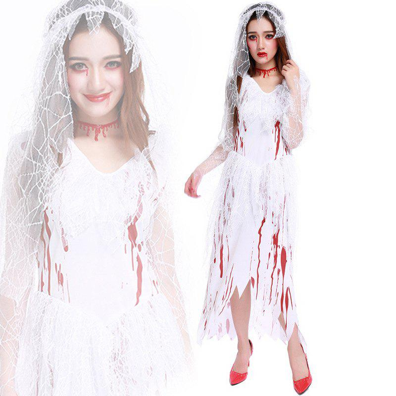 Women's Zombie Ghost Bride Bloody Dress Halloween Costume - WHITE ONE SIZE