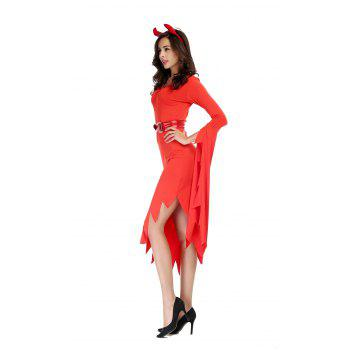 Halloween Costumes Witch Women's Black Dress With Witch Hat - RED M