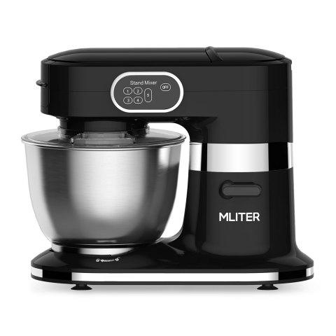 Mliter 1000W Electric Food Stand Mixer with 5.5L Stainless Steel Bowl, Dough Hook, Whisk, Splash Guard, 5-Speed, Black - BLACK EU PLUG