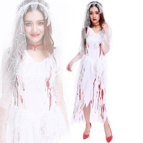Women s Zombie Ghost Bride Bloody Dress Halloween Costume - WHITE ONE SIZE 31c8e14cb4a8