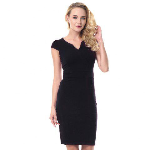 V Neck Wrap Shoulder Sleeve Slim Pencil Dress - BLACK M