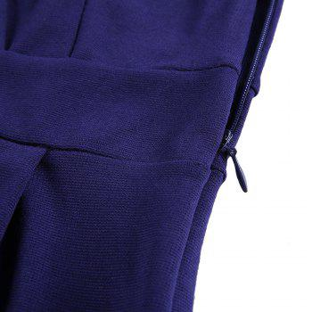 V Neck Wrap Shoulder Sleeve Slim Pencil Dress - DEEP BLUE M