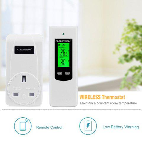 Floureon Wireless RF Plug In Thermostat Heating and Cooling Temperature Controller TS-808 UK - WHITE UK PLUG
