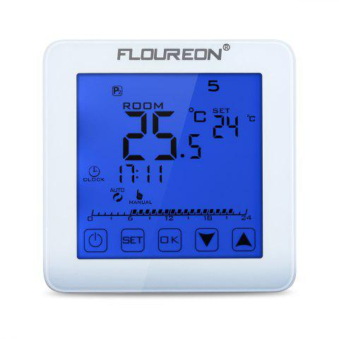 Floureon Electric Heating Thermostat Blue Backlight LCD Display Temperature controller HY08WE - WHITE