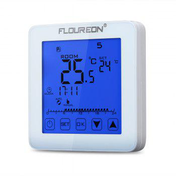 Floureon Electric Heating Thermostat Blue Backlight LCD Display Temperature controller HY08WE-1 - WHITE