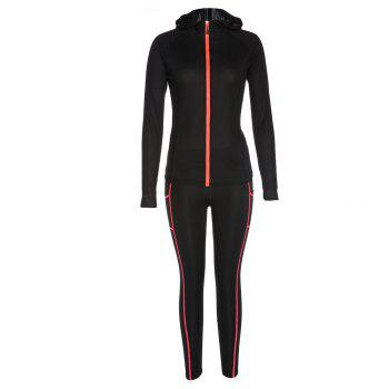 BELLEZIVA Winter Women Bright Color Hoodie Sport Suits 2 Piece Fitness Yoga Set Sportswear Training Running Tights Striped Gym Jogging Clothes - BLACK L