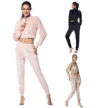 Belleziva Women Velvet Tracksuit Two Piece Set Fashion Long Sleeve Casual Sweat Suits - CHAMPAGNE XL