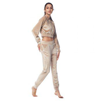 Belleziva Women Velvet Tracksuit Two Piece Set Fashion Long Sleeve Casual Sweat Suits - CHAMPAGNE M
