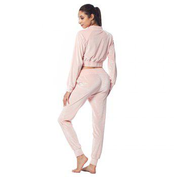 Belleziva Women Velvet Tracksuit Two Piece Set Fashion Long Sleeve Casual Sweat Suits - PINK S