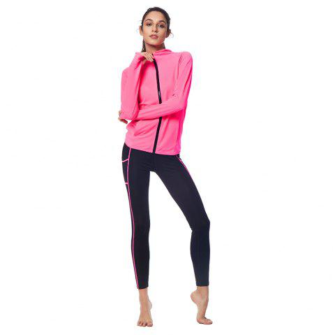 Winter Women Hoodie 2 Piece Fitness Yoga Set Sportswear - NEON PURPLE M