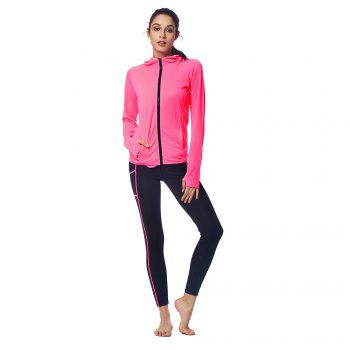 Winter Women Hoodie 2 Piece Fitness Yoga Set Sportswear - NEON PURPLE L