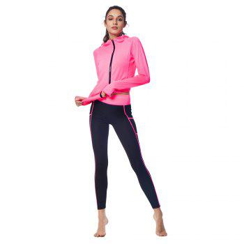 BELLEZIVA Winter Women Bright Color Hoodie Sport Suits 2 Piece Fitness Yoga Set Sportswear Training Running Tights Striped Gym Jogging Clothes - NEON PURPLE M